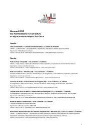 Manifs par mois 2012 - Agence régionale du livre
