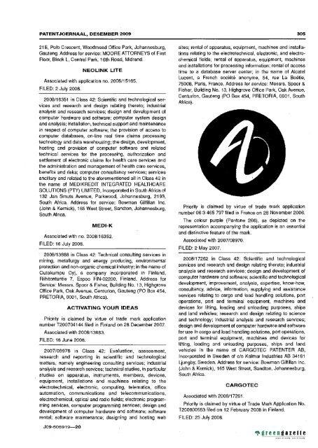 Patent Journal No 12 Of 01 Dec 2009 Government Gazett