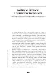 POLÍTICAS PÚBLICAS E PARTICIPAÇÃO INFANTIL