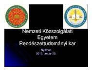 Az NKE-RTK képzései - Rendészettudományi Kar