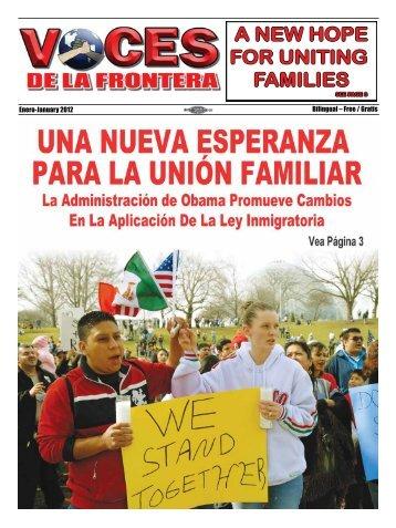 Enero-January 2012 Bilingual – Free / Gratis - Voces De La Frontera
