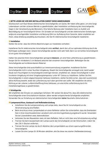 Handbuch Digistar Vorschaltgerat - Headshop