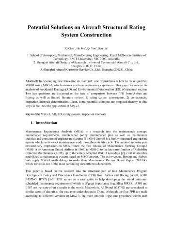 Potential Solutions on Aircraft Structural Rating System ... - AMMJ