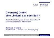 GmbH, eine Limited, sa oder Sarl? - Rechtsanwälte Graf & Partner