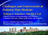Update on Pediatric Pain Management - Department of Pain ...