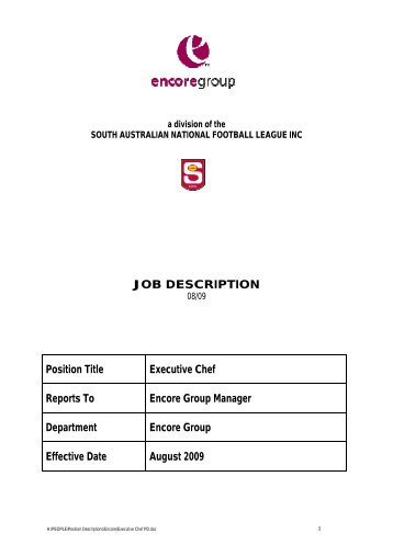 JOB DESCRIPTION Position Title Executive Chef Reports To ...   Sanfl