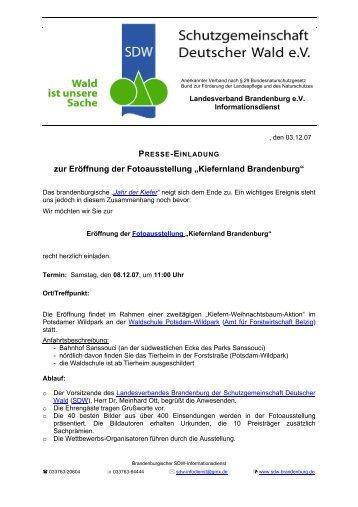 """zur Eröffnung der Fotoausstellung """"Kiefernland Brandenburg"""" - SDW"""