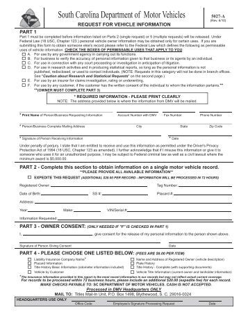South carolina motor vehicle department for Department of motor vehicle forms