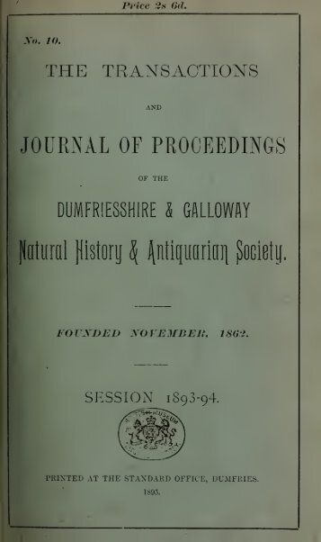 Vol 10 - Dumfriesshire & Galloway Natural History and Antiquarian ...