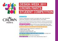 DESIGN WEEK 2011 CROWN PAINTS STUDENT COMPETITION