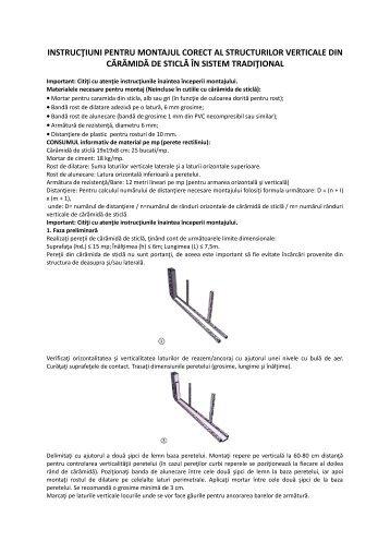 instrucţiuni pentru montajul corect al structurilor verticale ... - Dedeman