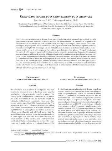 Urinotórax: reporte de un caso y revisión de la literatura
