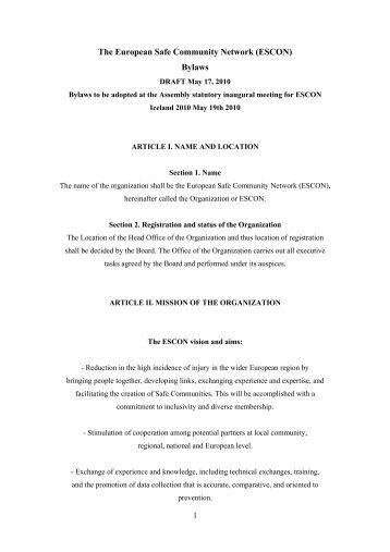 The European Safe Community Network (ESCON) Bylaws