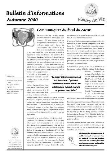 Bulletin d'informations Automne 2000 - Fleurs de Vie