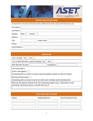 MENTEE APPLICATION FORM First Name: Last Name ... - ASET