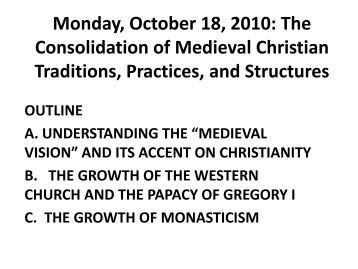 Monday, October 18, 2010: The Consolidation of Medieval Christian ...