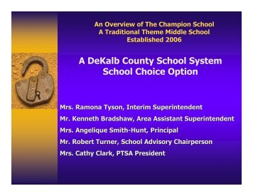 The Champion School Overview - DeKalb County Schools