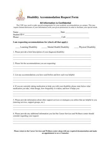 Disability Declaration and Accommodation Request Form