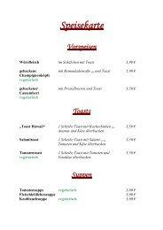Speisekarte Vorspeisen - Hotel und Gasthof Sonneneck