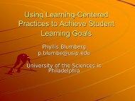 Learner-centered teaching - University of the Sciences in Philadelphia