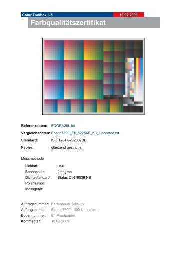 Farbqualitätszertifikat - Kartenhaus Kollektiv