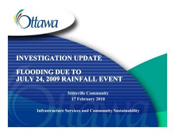 Investigation Update - Flooding due to July 24, 2009 ... - Shad Qadri