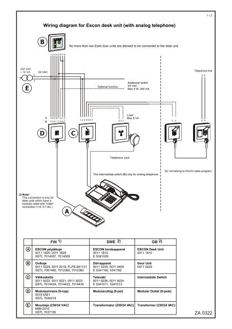 za 0322 wiring diagram for escon desk unit (with analog telephone)Analog Wiring Diagram #17