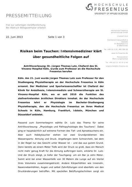 Dr. Jürgen Thomas Lutz zum Professor berufen - Hochschule ...