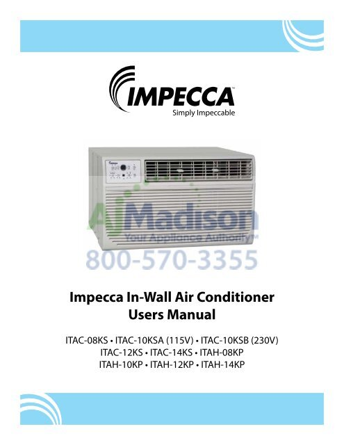 Impecca In-Wall Air Conditioner Users Manual on