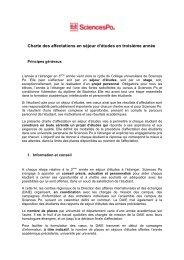 Charte des affectations en séjour d'études en troisième année
