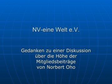Vortrag zur Beitragserhöhung - NV-Aktion Eine Welt