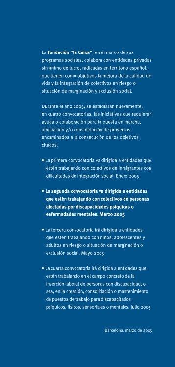 """convocatoria - Obra Social """"la Caixa"""""""