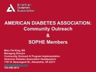 AMERICAN DIABETES ASSOCIATION: Community Outreach ...