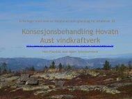 Erfaringer - vindkraft og Heiplanen ved Hans Fløystad, Aust-Agder ...