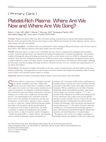 Platelet-Rich Plasma: Where Are We Now and ... - Cartilagedoc.org