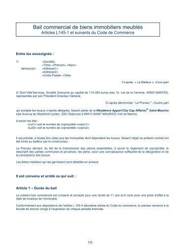 Bail commercial de biens immobiliers meublés - CN2i