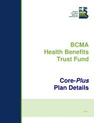 BCMA Health Benefits Trust Fund Core-Plus Plan Details - British ...