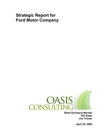 Strategic Report for Ford Motor Company - Pomona