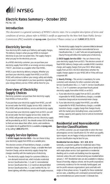 Electric Rates Summary – October 2012 - nyseg