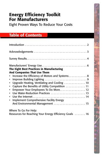 Energy Efficiency Toolkit for Manufacturers (PDF ... - Flex Your Power