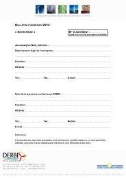 Bulletin d'adhésion à l'association DERBI – Collège
