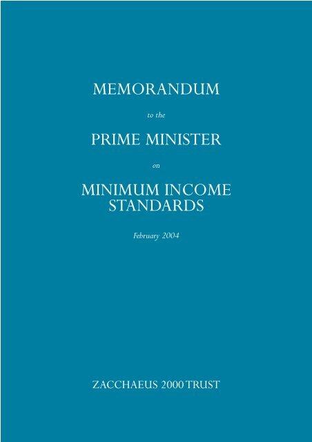 MEMORANDUM PRIME MINISTER MINIMUM INCOME STANDARDS