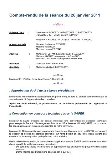 Compte-rendu de la séance du 26 janvier 2011 - La Redorte