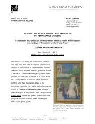 Gardens of the Renaissance - News from the Getty
