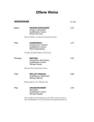 Offene Weine WEISSHERBST - Hotel Lahnschleife