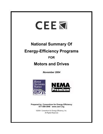 National Summary Of Energy-Efficiency Programs Motors and Drives