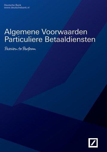 Algemene Voorwaarden Particuliere Betaaldiensten - Deutsche Bank