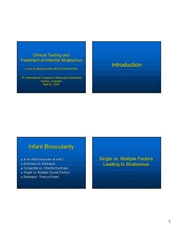 Introduction Infant Binocularity