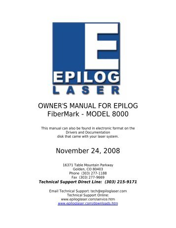 OWNER'S MANUAL FOR EPILOG FiberMark - Epilog Sample Gallery