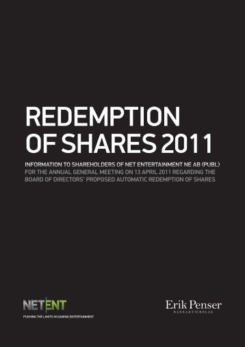 REDEMPTION OF SHARES 2011 - Net Entertainment